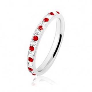 Oceľový prsteň striebornej farby, číre a červené zirkóniky, biela glazúra HH17.13 - Veľkosť: 49 mm