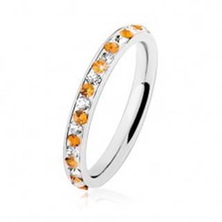 Oceľový prsteň striebornej farby, číre a oranžové zirkóniky, biela glazúra HH17.11 - Veľkosť: 49 mm
