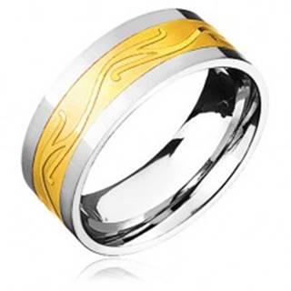 Oceľový prsteň - zlato-striebornej farby so zvlneným ornamentom - Veľkosť: 57 mm