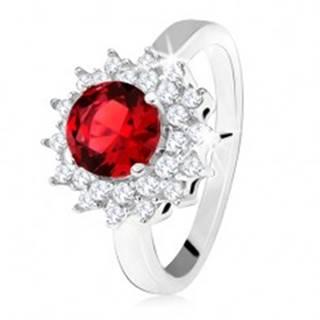 Prsteň s červeným okrúhlym kameňom a čírymi zirkónikmi, slniečko, striebro 925 SP33.21 - Veľkosť: 50 mm