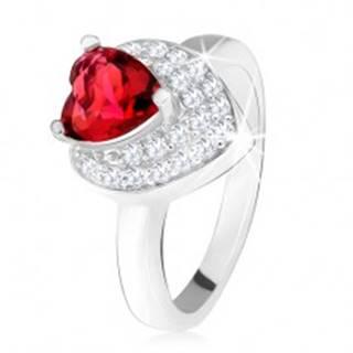 Prsteň s vystupujúcim srdiečkovým červeným zirkónom, dvojité srdce, striebro 925 - Veľkosť: 49 mm