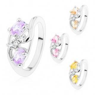Prsteň so zvlnenými ramenami, veľké farebné ovály, číre zirkóniky - Veľkosť: 49 mm, Farba: Ružová