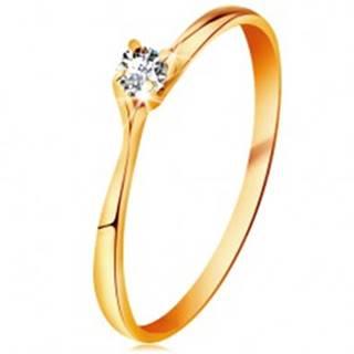 Prsteň v žltom 14K zlate - trblietavý číry briliant v lesklom vyvýšenom kotlíku BT179.80/88 - Veľkosť: 48 mm