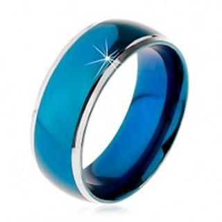 Prsteň z chirurgickej ocele, zaoblený modrý pruh, lemy striebornej farby, 8 mm - Veľkosť: 57 mm