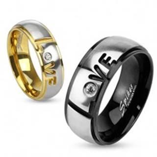 Prsteň z ocele 316L, čierna a strieborná farba, nápis Love, číry zirkón, 8 mm HH17.9 - Veľkosť: 59 mm