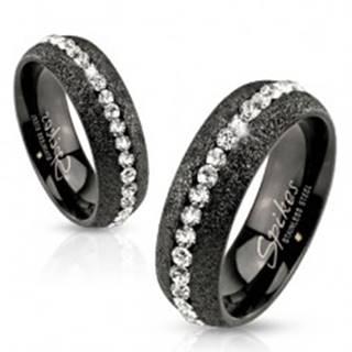 Prsteň z ocele 316L, čierny odtieň, trblietavé pieskovanie, zirkónový pás - Veľkosť: 49 mm