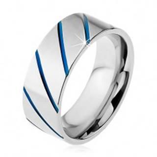 Prsteň z ocele 316L striebornej farby, modré diagonálne pásy, 8 mm - Veľkosť: 57 mm