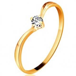 Prsteň zo žltého zlata 585 - lesklé zahnuté ramená, ligotavý číry diamant - Veľkosť: 49 mm