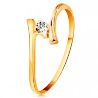 Prsteň zo žltého zlata 585 - žiarivý číry briliant, tenké zahnuté ramená BT178.99/179.06 - Veľkosť: 48 mm