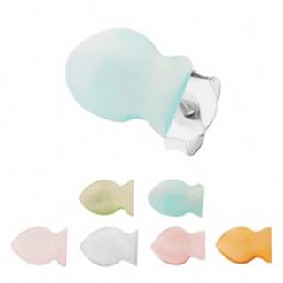 Strieborné 925 náušnice, farebné perleťové rybičky, hladký plochý povrch S60.14 - Farba: Biela