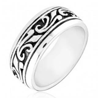 Strieborný prsteň 925 - obrúčka s vyrezávaným ornamentom - Veľkosť: 49 mm