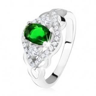 Strieborný prsteň 925, tmavozelený kameň, lem z čírych zirkónov, tvar oka SP24.03 - Veľkosť: 50 mm