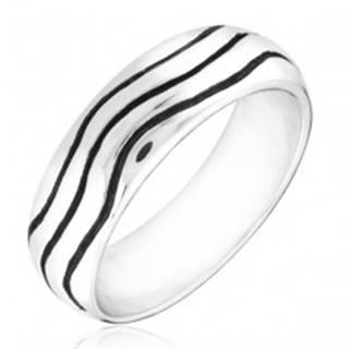 Strieborný prsteň 925 - zaoblená obrúčka s vlnkami - Veľkosť: 49 mm
