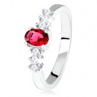 Strieborný zásnubný prsteň 925, oválny červený kamienok, číre zirkóny - Veľkosť: 49 mm