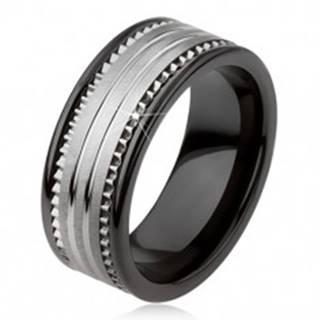 Tungstenová keramická čierna obrúčka s povrchom striebornej farby a prúžkami - Veľkosť: 49 mm