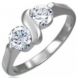 Zásnubný prsteň z chirurgickej ocele s dvojitým zirkónom s esíčkom - Veľkosť: 49 mm
