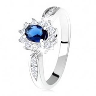 Zásnubný prsteň zo striebra 925, tmavomodrý oválny zirkón, číry lem - Veľkosť: 49 mm