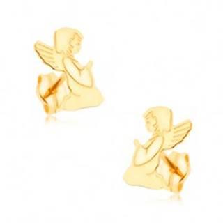 Zlaté náušnice 375 - gravírovaný modliaci sa anjelik, zrkadlový lesk