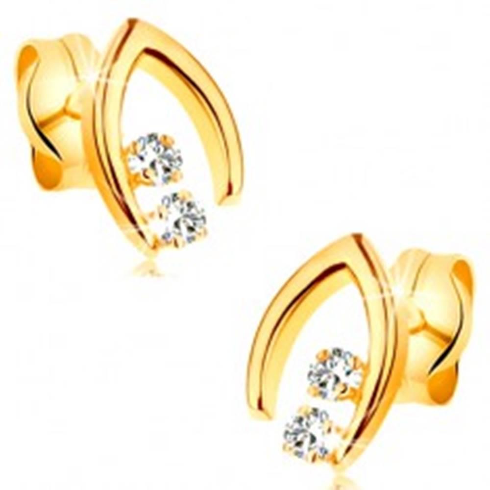 Diamantové náušnice v žltom...