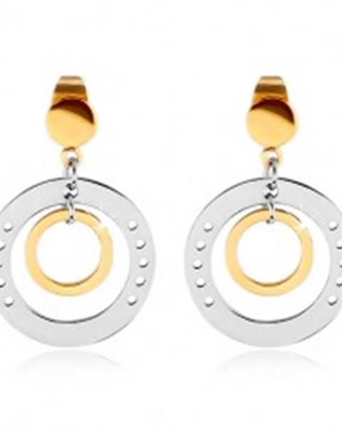 Dvojfarebné náušnice z ocele 316L, veľký kruh s dierkami a menším kruhom