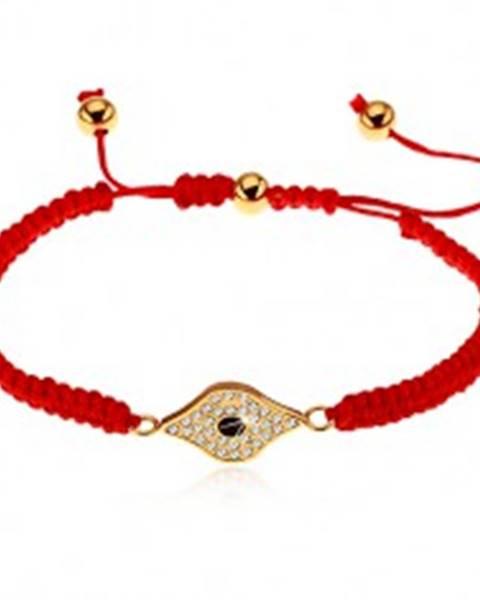 Nastaviteľný červený náramok zo šnúrok, symbol oka zdobený čírymi zirkónmi