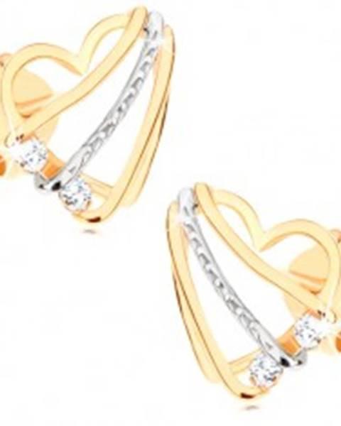 Náušnice v 9K zlate - srdcová kontúra so šikmými líniami a čírymi zirkónikmi