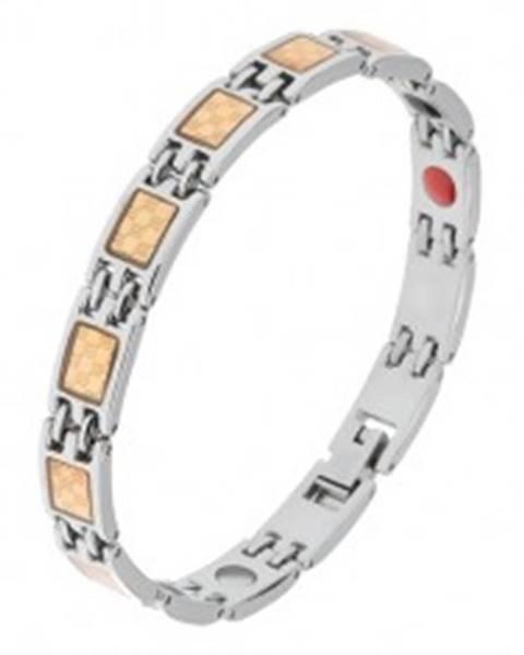 Oceľový náramok striebornej a zlatej farby, šachovnicový vzor, magnety