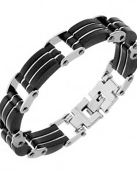 Oceľový náramok, trojité čierne gumené časti, pásiky striebornej farby S76.12