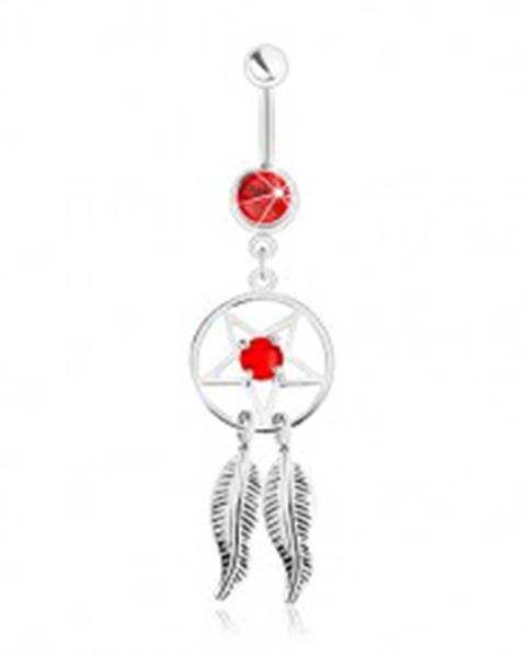 Oceľový piercing do pupka, lapač snov s pentagramom, pierkami a červeným zirkónom