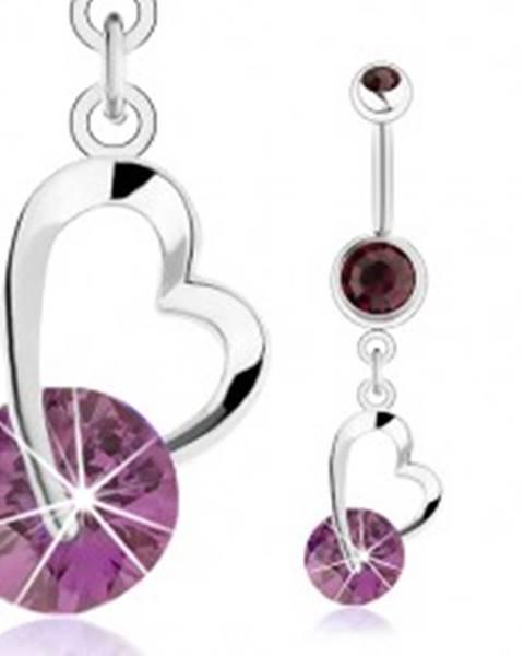 Oceľový piercing do pupku, fialové zirkóny, nesúmerná kontúra srdca