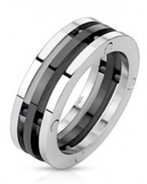Oceľový prsteň - dvojfarebné oddelené obruče L3.08 - Veľkosť: 56 mm