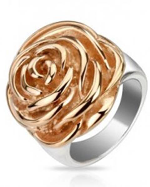 Oceľový prsteň - rozkvitnutý kvet ruže medenej farby - Veľkosť: 51 mm