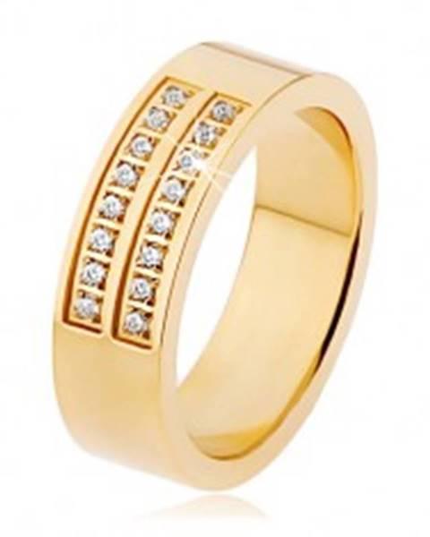 Oceľový prsteň zlatej farby, dvojitá línia čírych zirkónov S71.05 - Veľkosť: 53 mm