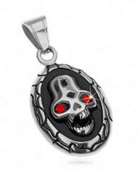 Oválny prívesok z ocele 316L, lebka s červenými očami a vybitým zubom G23.18