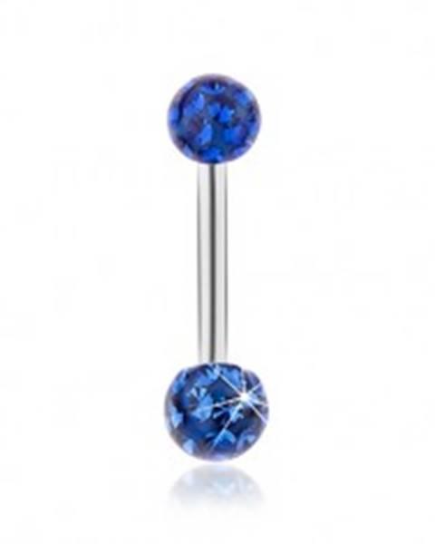 Piercing do brucha z ocele 316L, modré ligotavé guličky, hladká glazúra