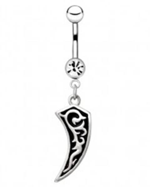 Piercing do bruška z chirurgickej ocele - zúbok s ornamentom