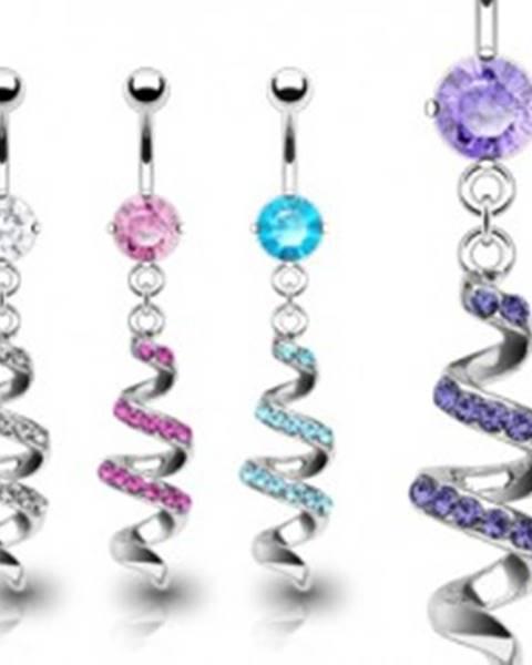 Piercing do pupku z ocele - špirála vykladaná zirkónmi - Farba zirkónu: Aqua modrá - Q