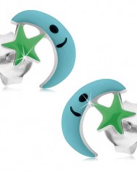 Strieborné náušnice 925, svetlomodrý mesiac a zelená hviezdička, puzetky