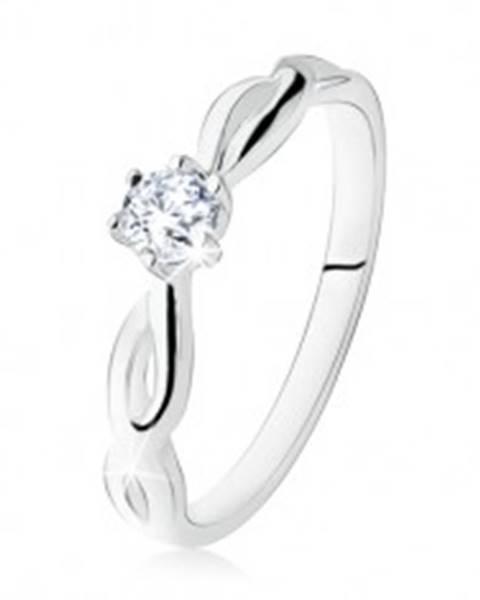 Strieborný prsteň 925, zásnubný, číry kamienok, špirálovité ramená SP18.02 - Veľkosť: 49 mm