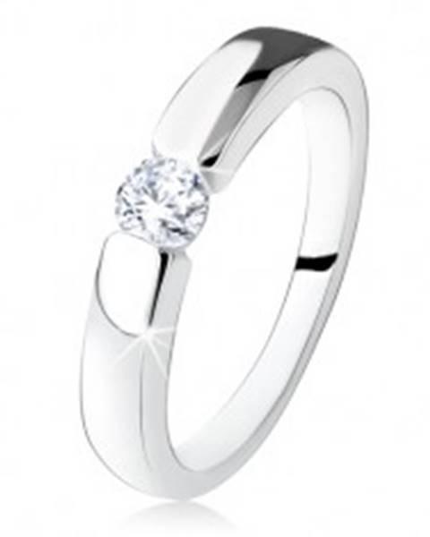 Strieborný zásnubný prsteň 925, hladké a lesklé ramená, okrúhly zirkón SP15.03 - Veľkosť: 48 mm