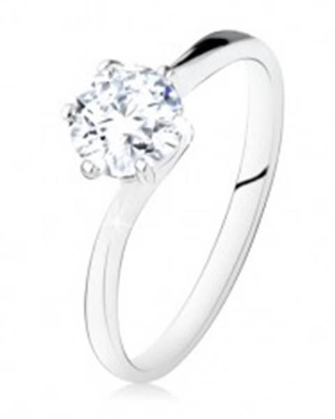 Strieborný zásnubný prsteň 925, okrúhly číry zirkón, úzke ramená SP10.26 - Veľkosť: 49 mm