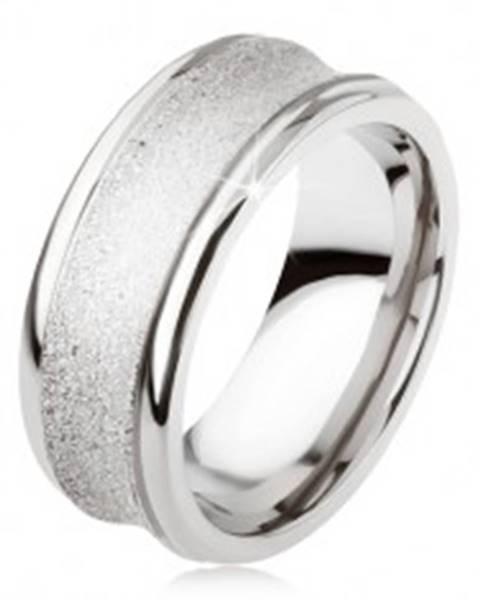 Titánový prsteň - strieborná farba, trblietavý, prehĺbený stredný pás SP23.10 - Veľkosť: 54 mm