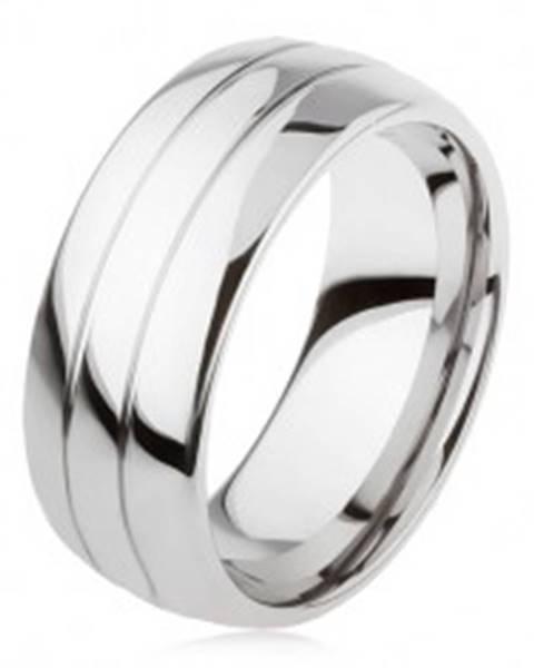Tungstenový hladký prsteň, jemne vypuklý, lesklý povrch, dva zárezy AB34.10 - Veľkosť: 49 mm