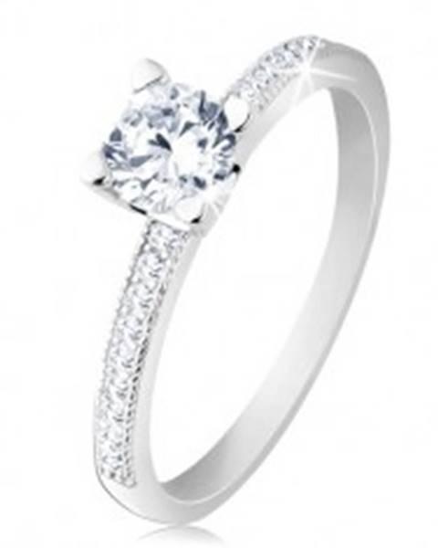 Zásnubný prsteň, striebro 925, ploché ramená, číry okrúhly zirkón S61.18 - Veľkosť: 50 mm