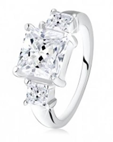 Zásnubný prsteň, veľký štvorcový zirkón, dva menšie po bokoch, striebro 925 - Veľkosť: 48 mm