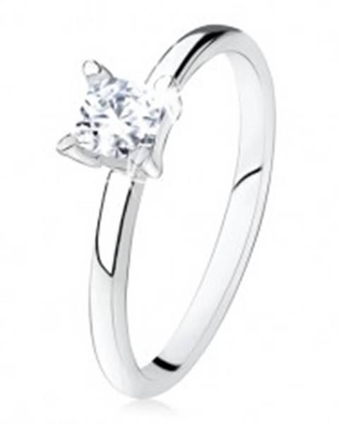 Zásnubný prsteň zo striebra 925, hladké ramená, zirkónový štvorec S81.01 - Veľkosť: 49 mm