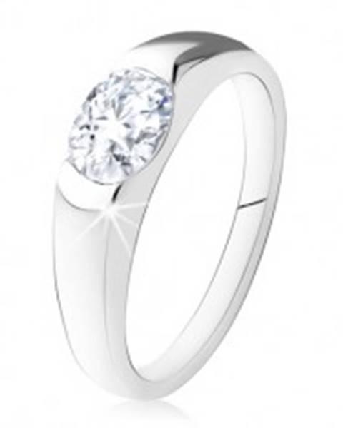 Zásnubný prsteň zo striebra 925, oválny číry kamienok, hladké ramená SP18.19 - Veľkosť: 48 mm