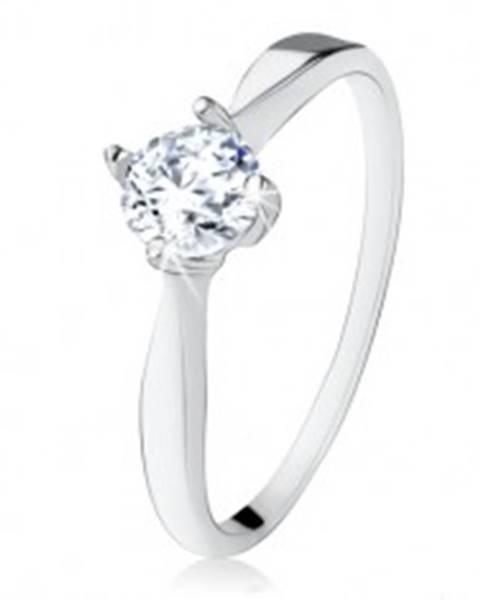 Zásnubný strieborný prsteň 925, brúsený číry zirkón, úzke ramená SP16.13 - Veľkosť: 48 mm