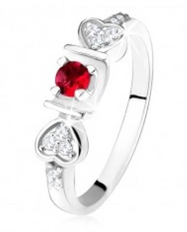 Lesklý prsteň - striebro 925, ružový okrúhly zirkón v žliabku, srdiečka, číre kamienky SP34.14 - Veľkosť: 50 mm