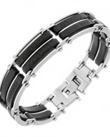 Náramok z ocele, čierne gumené časti s pásikmi striebornej farby, grécky kľúč S76.11/Y48.07 - Dĺžka: 195 mm